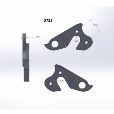 D726 derailleur hanger for KHS Alite Team Carbon bikes (rear gear mech, dropout) 3